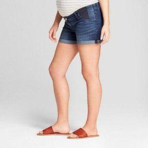 Maternity Inset Panel Midi Jean Shorts #77-93